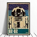 モダン キャンバス塗装 R2-d2スターウォーズポップアートミニマリズムヴィンテージ映画ポスター家の装飾壁の装飾壁アートキャンバスプリント絵画 50*75cm