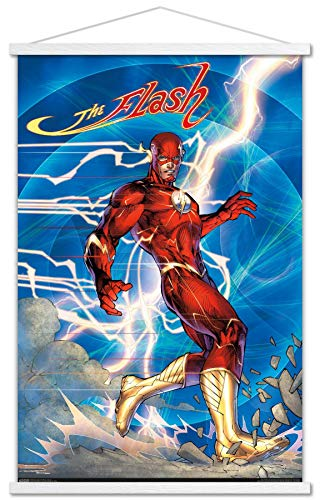 Trends International DC Comics - The Flash - Jim Lee Wall Poster with Wooden Magnetic Frame, 22.375' x 34', Premium Print and White Hanger Bundle