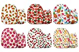 Mama Koala One Size Baby Washable Reusable Pocket Cloth Diapers, 6 Pack with 6 One Size Microfiber Inserts (Fruits Rouge)