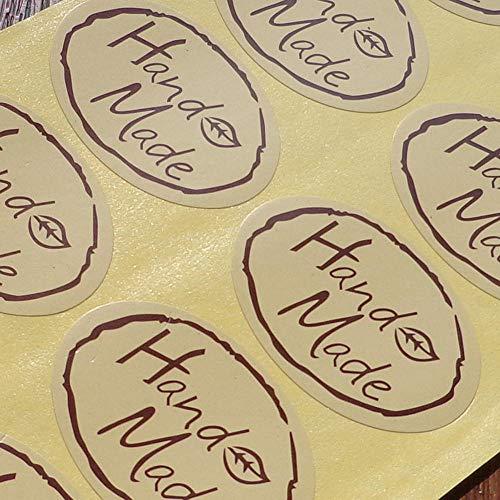 Olivialulu 100 Ovaal Handgemaakte Stickers Handgemaakte Bakken Verpakking Zeep Doos Afdichting Sticker Decoratieve Stickers Aanpasbaar