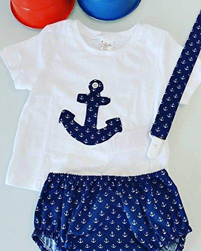 Conjunto Camiseta y Cubrepañal Bebe Anclas: Amazon.es: Handmade