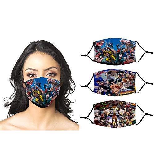 Haikyuu - 3 máscaras faciales ajustables reutilizables pasamontañas bandana anime para hombre y mujer y niños al aire libre - - talla única