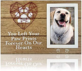 OakiWay 4x6 Dog Picture Frame with Paw Prints & Woven Heart Design