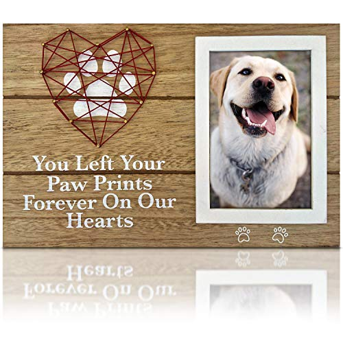 OakiWay Pet Memorial Gifts - 4x6 Dog Picture Frame with Paw Prints & Woven Heart Design - Pet Loss Gifts Photo Frame, Remembrance Gifts, Cat & Dog Memorial Gifts, Sympathy Gift For Loss Of Dog