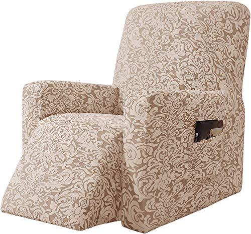 Subrtex - Funda de sillón relajante extensible Jacquard Damasco, 1 plaza, sillón relax, protector decorativo (beige marrón)