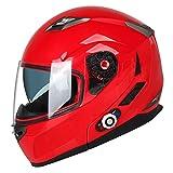FreedConn Bluetooth Motorcycle Helmets Dual Visor Flip up Modular Full Face Helmet DOT Built-in 500M Bluetooth Communication System Intercom (M, Red)