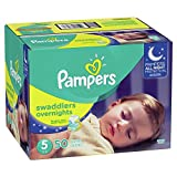 Diapers Size 5, 50 Count - Pampers Swaddlers Overnights Disposable Baby Diapers, Super Pack