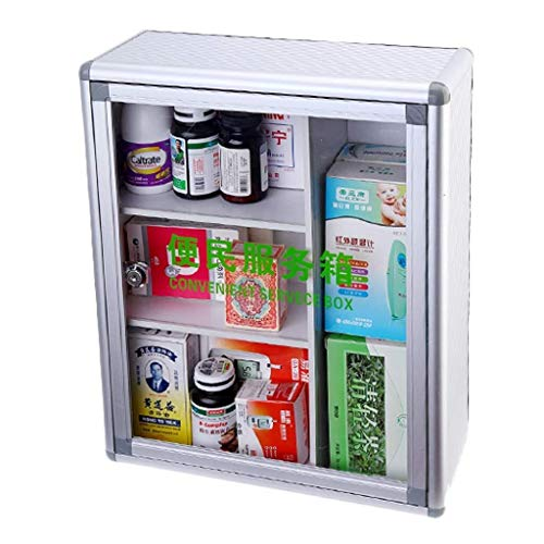 GOXJNG Medizin Box Set Medizin-Schrank Pill Box medizinische Erste-Hilfe-Ausrüstung Notfall Lagercontainer Aluminium Haushalt for Reisen Arbeitsplatz Büro 35x14x42cm (Color : Silver)
