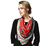 HongTeng-Bufanda Bufanda de Seda de Lujo para Mujer, Primavera y Verano, 110 cm, Bufanda Cuadrada, protección Solar, Aire Acondicionado, Chal (Color : Red)