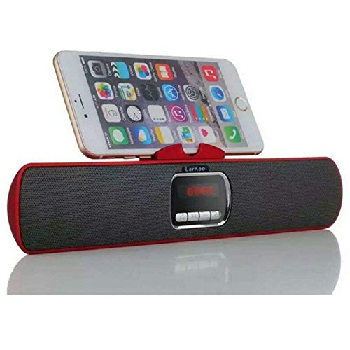 LarKoo Ultra Portable Wireles Rechargeable Handsfree Bracket Bluetooth Speaker Stereo System Phone Holder Mount Stand for Android Smartphones and Tablets iPad iPhone 5S 6 6S 7 8 Plus X (Red)