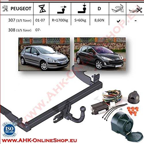 AHK Anhängerkupplung mit Elektrosatz 13 polig für Peugeot 307 2001-2007 Schrägheck Anhängevorrichtung Hängevorrichtung - starr, mit angeschraubtem Kugelkopf