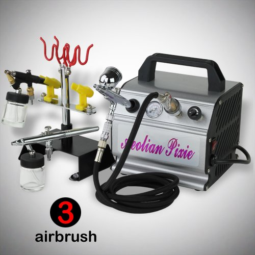 GotHobby 3 Airbrush Pro Kit Compressor Dual-Action Brush Hose Holder Quick Disconnect