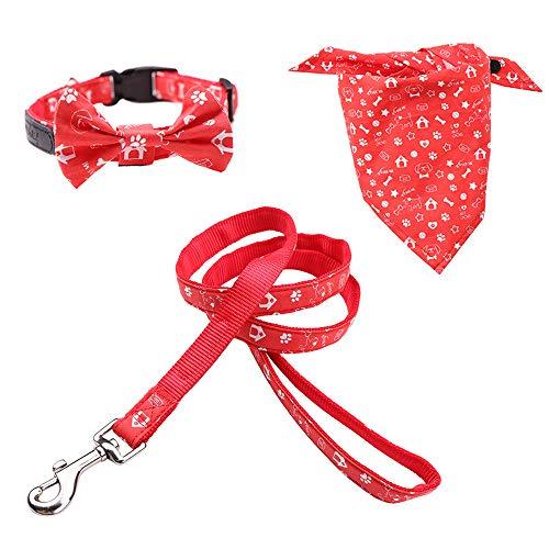 Rayzm Baumwoll-Hundehalsband/Leine & Dreieck Hundebandana 3 Stück Set für kleine Hunde, Abnehmbares Halsband mit Schleifenknoten,verstellbares Halstuch für Hunde Katzen Haustiere (XS)