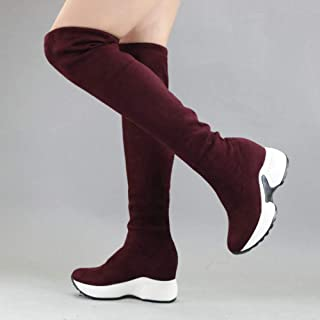 Ztoyby Stretch Fabrics Over The Knee Boots Height Increasing Round Toe Women Shoes Autumn Winter Casual Long Boots Size34-43