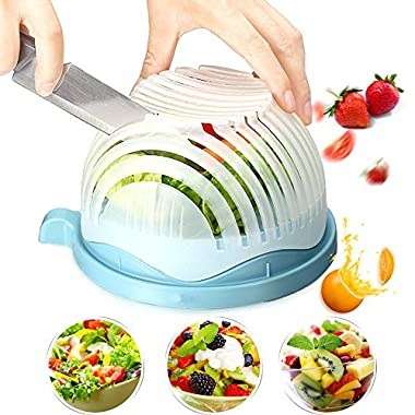 Salad Cutter Bowl, 60 Seconds Quickly Salad Maker, Multi-Functional Kitchen Tool Salad Chopper Bowl, Fruit Bowl, Salad Bowl,Salad Chopper, Vegetable Slicer, Vegetable Bowl (Blue)