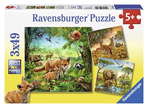 Ravensburger 09330 - Animali del Mondo Puzzle, 3 x 49 Pezzi