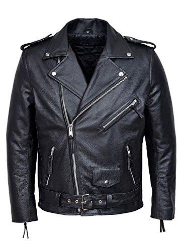 Smart Range - Brando Classique Motorcycle Moto Véritable Peau De Vache Cuir Veste - Homme - Taille : 2XL - Couleur : Noir