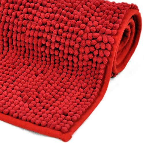 WohnDirect Badematte Rot • Badezimmerteppich zum Set kombinierbar, rutschfest & Waschbar • Badvorleger, WC Garnitur, Badteppich • OHNE WC Ausschnitt • 45x45cm