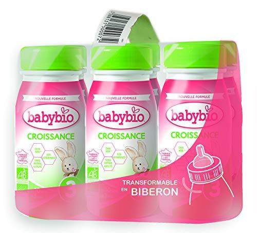 Babybio Lait Croissance Liquide - 3ème âge dès 10 Mois - 6x25Cl - BIO Fabriqué en France & Lait français - Formule PREMIUM : DHA/ARA