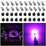 WLJH 74 Led Bulb Dash Lights Extremely Bright T5 2721 18 37 286 Wedge PC74 Twist Socket Automotive Instrument Panel Gauge Light Kits Dashboard Cluster Shift Bulbs Purple Pack of 20