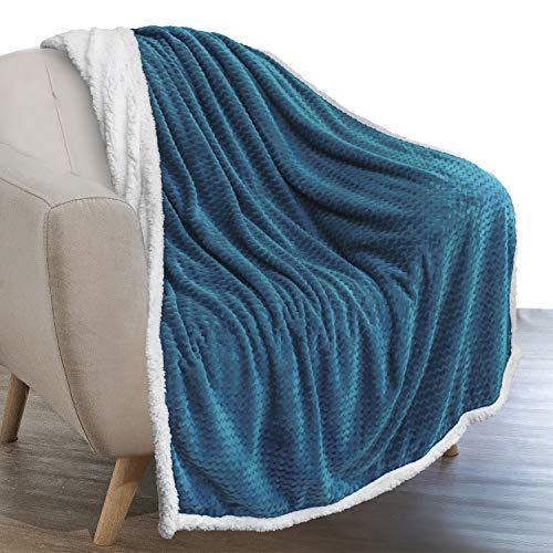 PAVILIA Sherpa Blanket Throw for Couch Sofa | Turquoise Teal Blue Super Soft, Plush Chevron Throw Fleece Blanket | Zig Zag Fuzzy Fluffy Decorative Blanket Microfiber, 50x60
