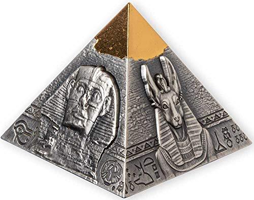 2021 DJ Modern Commemorative PowerCoin Famous Pyramid Of Khafre 5 Oz Silver Coin 250 Francs Djibouti 2021 Antique Finish