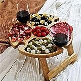 Mesa de picnic plegable de madera para exteriores con soporte de vidrio, mesa de picnic portátil 2 en 1, mesa de vino plegable portátil para la playa con soporte para botellas, jardín, viajes