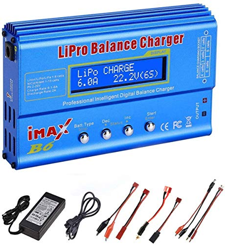 ZHITING 80W 6A Lipo-Ladegerät, Lipo/Li-Ion/Life (1-6S), NiMH/NiCd (1-15S), RC Hobby-Ladegerät LED con fuente de alimentación (azul)