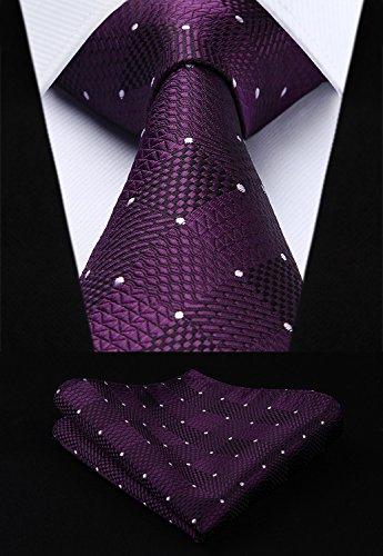 HISDERN Herren Krawatte Taschentuch Check Krawatte & Einstecktuch Set Lila und Weiß