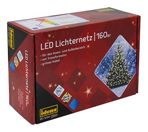 Idena 8325069 - LED Lichternetz mit 160 LED warm weiß, mit 8 Stunden Timer Funktion, Innen und Außenbereich, für Garten, Weihnachten, Deko, Hochzeit, als Stimmungslicht, ca. 2 x 1 m
