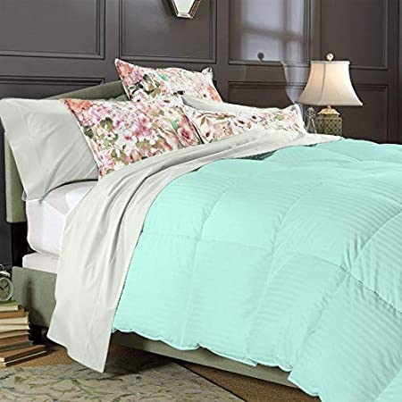 800 Thread Count Egyptian Cotton Choose Bedding Item US Sizes Aqua Blue Striped