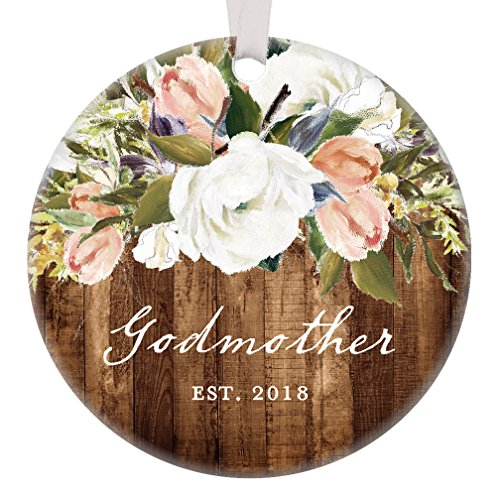 Godmother Christmas Ornament, 2018 New God Mother Christmas Gift Christian Baptism Christening Rustic Modern Farmhouse Floral Present Pretty 3