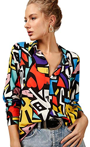 Blouses for Women Fashion, Casual Long Sleeve Dressy Button Down Shirts Tops, XS-3XL (Mix Colors, X-Large)