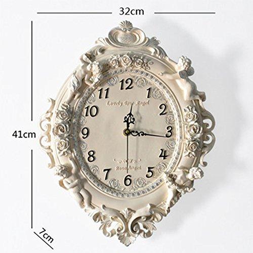 horloge murale CivilWeaEU- Salle de Séjour européenne Creative Fashion Art Décorative Horloge Mute Horloge Grande horloges Pendantes Angel Quartz Montres et horloges