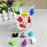 WskLinft Drinks Marker, 12Pcs/Set Cartoon Animal Silicone Suction Cup Wine Glasses Drinks Marker Tool
