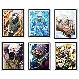 Naruto Manga Anime Rapper Killer Bee Copy Ninja Kakashi Minato Canvas Art Prints Poster para decoración de pared, 20,32 x 25,42 cm, sin marco, juego de 6