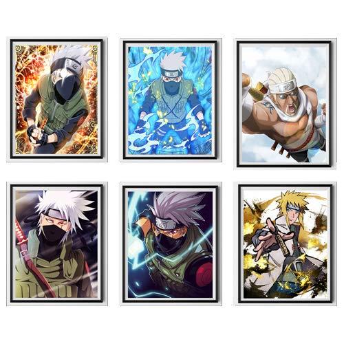 Manga Anime Rapper Killer Bee Copy Ninja Kakashi Minato Lienzo Póster para decoración de pared, 8 x 10 pulgadas, sin marco, juego de 6