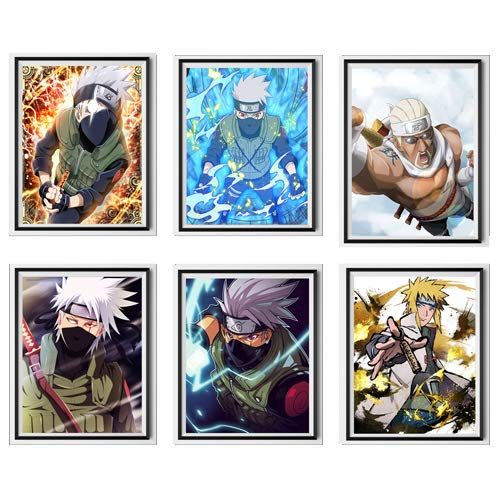 Naruto Manga Anime Rapper Killer Bee Copy Ninja Kakashi Minato Canvas Art Prints Poster para decoración de pared, 20,32 x 25,42 cm, sin marco, juego de 6