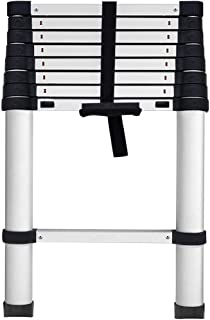 GROWNEER Aluminum Telescoping Ladder 8.5 ft, Max Reach 12 ft, 330 lb Max Capacity, Soft-Close System, Pinch-Free Locking for Industrial Household Daily or Emergency Use