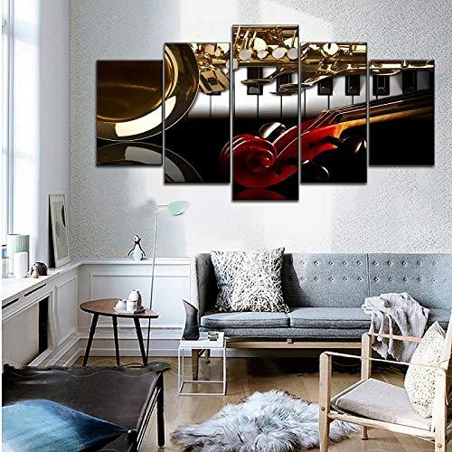 JGWLH Leinwanddruck Musikinstrumente Bild 5 Panel Modular Style Musik Klassenzimmer Wanddekoration Klavier Und Violine Griff Saxophon Zeichnen - Bilder Vlies Leinwandbild 5 Kunstdruck Mode150X100CM