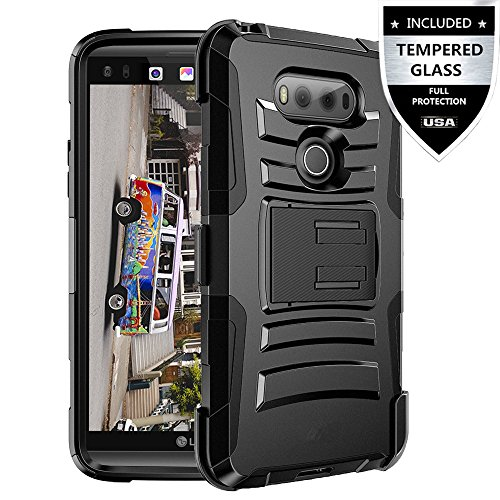 LG V20 Case With Tempered Glass Screen Protector,IDEA LINE(TM) Heavy Duty Armor Shock Proof Dual Layer Holster Locking Belt Swivel Clip with Kick Stand - Black