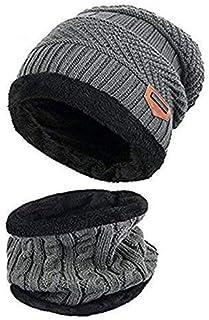 2920773450b4b ZZLAY Enfants Hiver épais Bonnet écharpe Ensemble Slouchy Chaud Neige Knit  Skull Cap