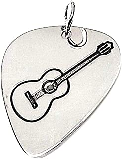 Colgante plata ley 925m liso 30mm. púa guitarra española [AA7805]