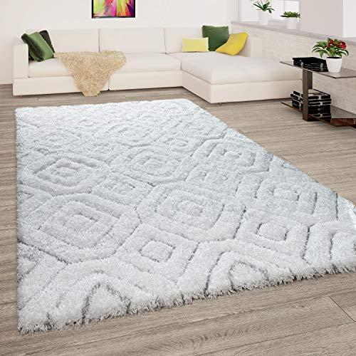 Alfombra Salón Pelo Largo Shaggy Efecto 3D Suave A Rombos Moderna Blanca, tamaño:160x220 cm