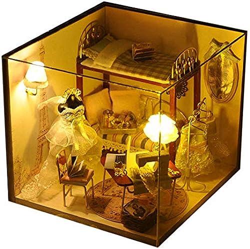 Puppenhaus mit DIY Dollhouse Manuelle Montage Modellhaus DIY Dollhouse Miniature Kit Diy Hütte Sweet Dream Paris Bau Spielzeug Kreative Geburtstagsgeschenk Holz Mini Handmade Kit Für mädchen Kabine M