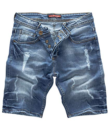 Rock Creek Herren Shorts Jeansshorts Denim Stretch Sommer Shorts Regular Slim [RC-2123 - Night Blue W36]