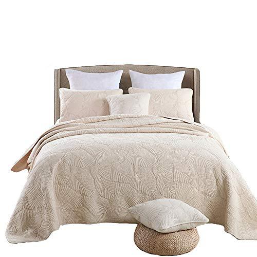 HHNSI 3-teiliges Tagesdecken-Set, Queen-Size-Größe, Baumwolle, bequem, für Sommer & Herbst, Bettwäsche-Set, beige Blätter