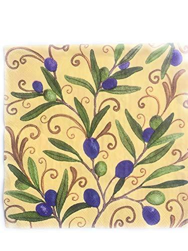 20 Servietten Toscana Provence Olive mediterran aus Zellstoff