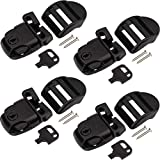 OIIKI 4 Sets Spa Hot Tub Cover Clips, Hot Tub Cover Broken Latch Repair Kit- Replacement Latches Clip Lock with Keys and Hardware Accessories for Spa Cover Straps (Black)