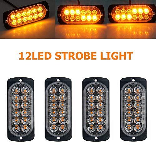 JZWDMD LED kühlergrill Beleuchtung,12LED Warnblinklicht Blitzer Leuchte Stroboskop Warnlicht Bernstein Universal für 12-24 V Caravan Reisemobil